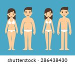 cute cartoon man and woman in... | Shutterstock .eps vector #286438430