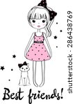 fashion girl style. | Shutterstock .eps vector #286438769