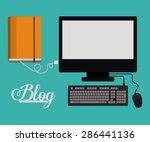blogger design over blue... | Shutterstock .eps vector #286441136