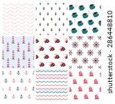 set of  nine vector nautical... | Shutterstock .eps vector #286448810