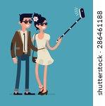 cool flat character design on... | Shutterstock .eps vector #286461188