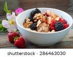 bowl of home made fresh fruit... | Shutterstock . vector #286463030
