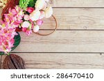 flowers over grunge wooden... | Shutterstock . vector #286470410