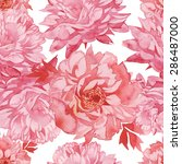 pink peonies seamless pattern.... | Shutterstock . vector #286487000