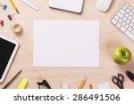 blank sheet of paper on wooden... | Shutterstock . vector #286491506