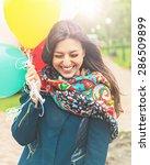 portrait of a happy beautiful... | Shutterstock . vector #286509899