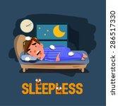 sleepless man character on the... | Shutterstock .eps vector #286517330