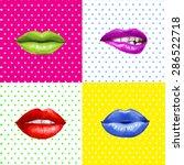 pop art lips. lipstick... | Shutterstock . vector #286522718