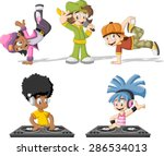 cartoon hip hop dancers with a...
