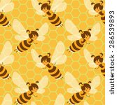 cute flying bees seamless... | Shutterstock .eps vector #286539893