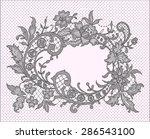 black lace. romantic frame.... | Shutterstock .eps vector #286543100