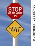 modified road signs on safety  | Shutterstock . vector #286557410