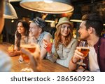 Stock photo people leisure friendship and communication concept group of happy smiling friends drinking 286560923