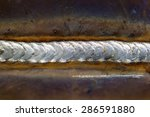 welding seam onto steel sheet... | Shutterstock . vector #286591880