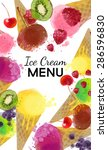 ice cream menu. watercolor... | Shutterstock .eps vector #286596830