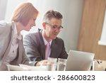 businessman and businesswoman... | Shutterstock . vector #286600823