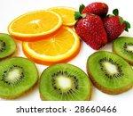 strawberry  kiwi  orange on a... | Shutterstock . vector #28660466