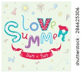 cute greeting card in vector.... | Shutterstock .eps vector #286625306