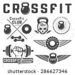 set of monochrome fitness... | Shutterstock .eps vector #286627346