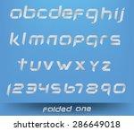 folded one  custom vector font.  | Shutterstock .eps vector #286649018
