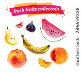 vector set of watercolor fruits ... | Shutterstock .eps vector #286659338