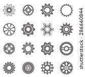 set of gear wheels in black and ... | Shutterstock .eps vector #286660844