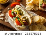 homemade chicago style hot dog... | Shutterstock . vector #286675316