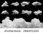 Set Of Isolated Clouds On Blac...