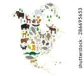 bison bat manatee fox elk horse ... | Shutterstock .eps vector #286695653