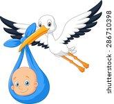 cartoon bird stork with baby   Shutterstock .eps vector #286710398
