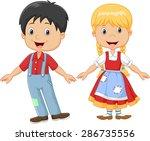 Cartoon Little Kid Happy Hanse...