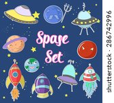 space set cartoon ufo planets... | Shutterstock .eps vector #286742996