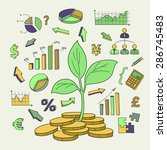 money tree sprout and financial ... | Shutterstock .eps vector #286745483