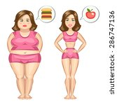 fat and slim girl  weight loss... | Shutterstock .eps vector #286747136