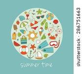 vector summer background with... | Shutterstock .eps vector #286751663