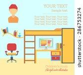 teenager bedroom flat design...   Shutterstock .eps vector #286753274