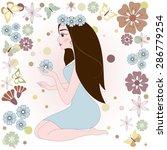 girl with flower. vector... | Shutterstock .eps vector #286779254