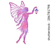 hand paint fairy with lantern... | Shutterstock .eps vector #286781798