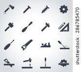 vector black carpentry icon set.... | Shutterstock .eps vector #286785470