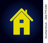 yellow home icon on a blue...