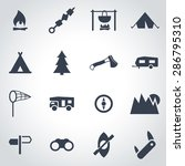 vector black camping icon set.