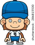 a cartoon coach monkey smiling. | Shutterstock .eps vector #286815530