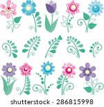 vector floral set   colorful... | Shutterstock .eps vector #286815998