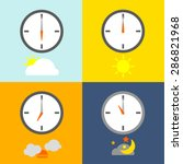 Time Table Clocks Show 4 Times...