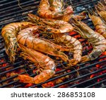 fried king shrimps seafood by... | Shutterstock . vector #286853108