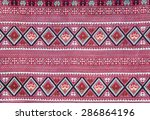 red thai woven cloth fabric. | Shutterstock . vector #286864196