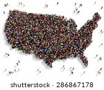 large group of people seen from ... | Shutterstock . vector #286867178
