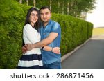 love story. young man and woman ... | Shutterstock . vector #286871456
