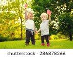 happy adorable little blond... | Shutterstock . vector #286878266