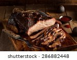 homemade smoked barbecue beef... | Shutterstock . vector #286882448